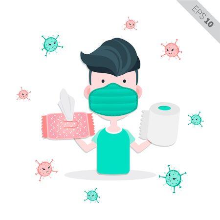 good sample - men using tissue for healthy lifestyle illustration, vector Иллюстрация