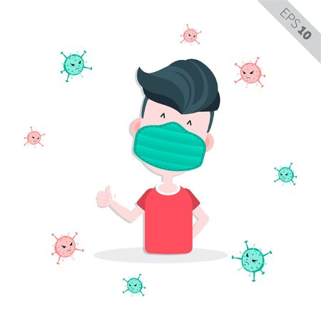 creative people wear surgery mask for healthy life illustration, vector Иллюстрация