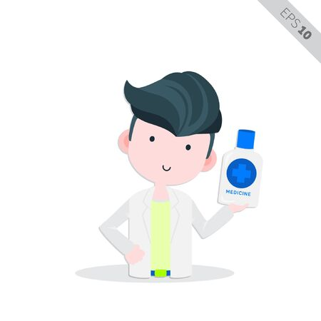 creative doctor with mouthwash liquid illustration, vector