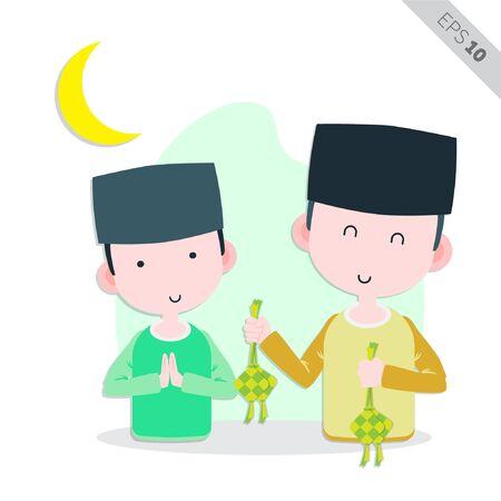 creative muslim men holding ketupat illustration, vector Vetores