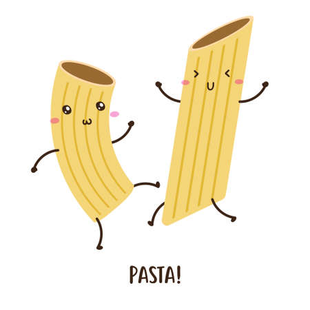 pair of cute happy pasta dancing vector design, can be use to make poster