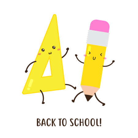 cute happy back to school triangular ruler and pencils vector design, can be use to make poster 일러스트
