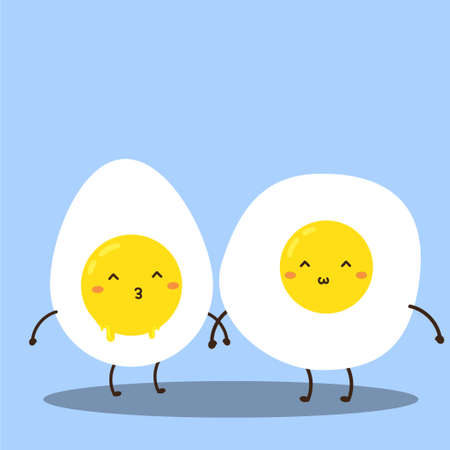 Cute happy fresh fried and boiled eggs vector design, can be use to make poster