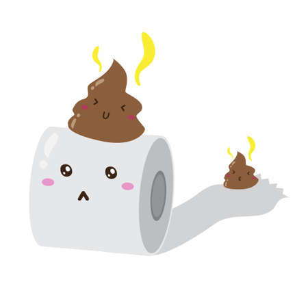 cute happy roll tissue poop vector design, can be use to make poster Vector Illustratie