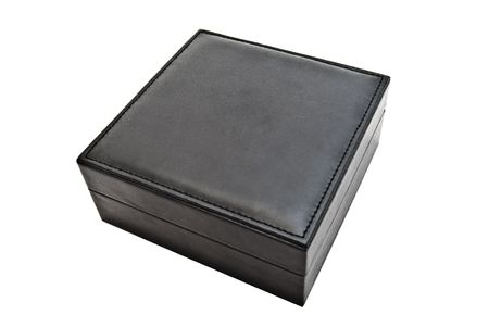 unexpectedness: Black leather box on a white background