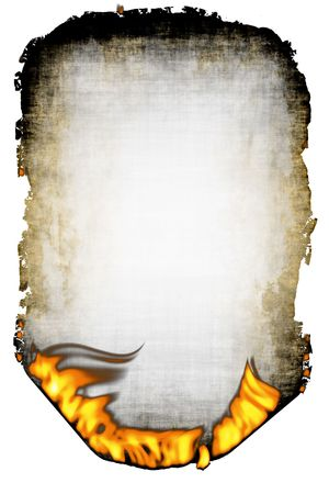 burning paper: Sheet of the old scorched paper and fire