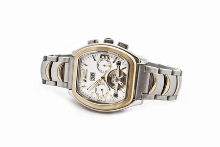 The Swiss solid mens watch on a white background photo