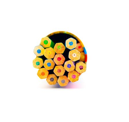 stick out: Set of colour pencils in a box on a white background Stock Photo