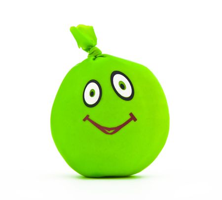 jugglery: Toy in the form of green smile on a white background