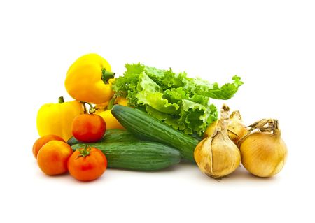 Set of various vegetables and fruit on a white background photo