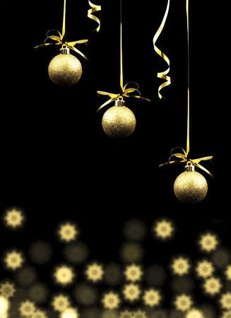 gold christmas balls on a black background stock photo 6335368 - Black And Gold Christmas Ornaments