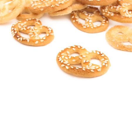 Knot-shaped biscuit with sugar and sesame Stock Photo - 6402448