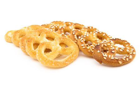 Knot-shaped biscuit with sugar and sesame Stock Photo - 6402423