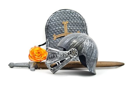 knightly: Toy armour of the knight: a board, a sword, a helmet