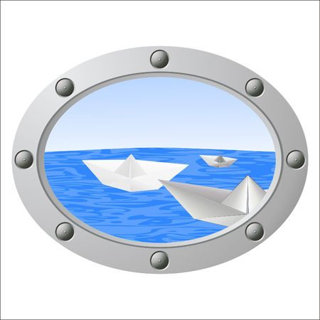 View from a porthole on the sea and floating paper boats  photo
