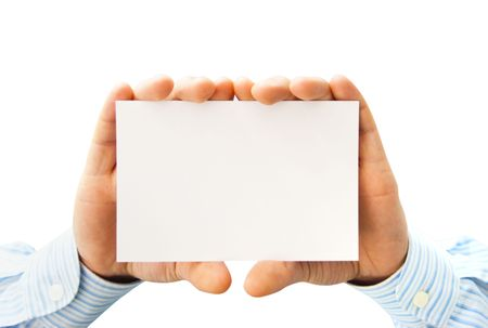 Pure white card in mans hands isolated on white photo