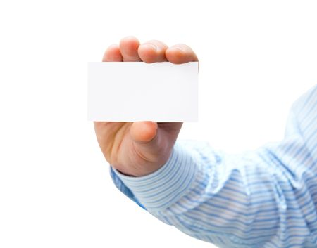 Pure white card in mans hand photo