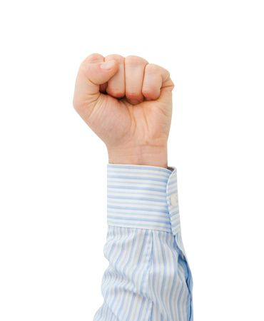 clench: clench ones fist on white background Stock Photo