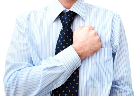 oath: Businessman Lawyer with hand on heart