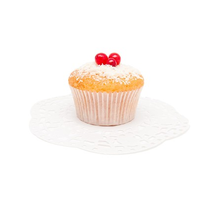 Vanilla cake with berries on a white background photo