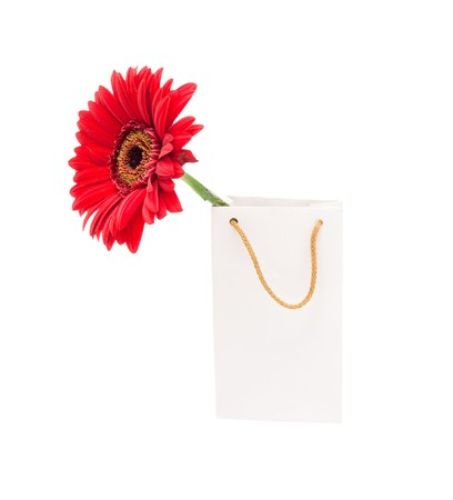 White gift package with a red flower on a white background photo