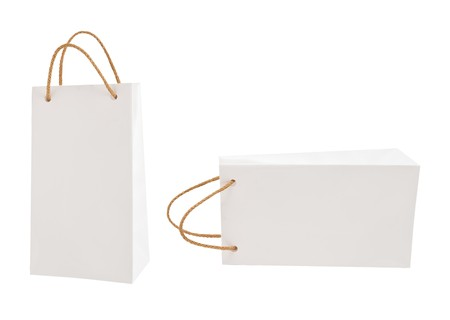 White gift packages on a white background photo