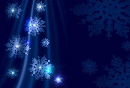 Christmas background - silvery snowflakes on a blue background photo