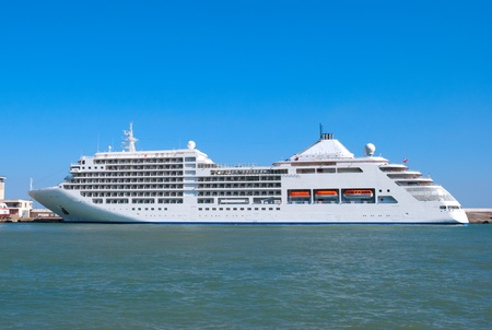 cruise liner: The big tourist liner in a port
