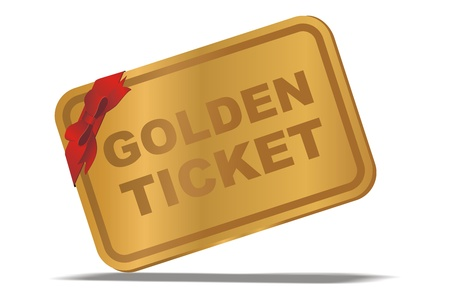 vip area: illustration of golden ticket with red ribbon
