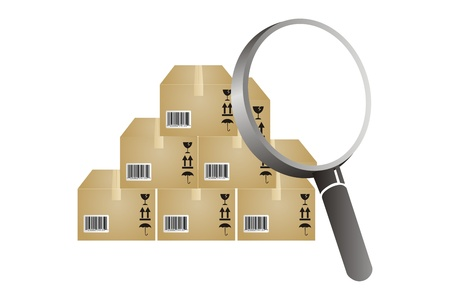 boxes and magnifying glass to find inventory analyzing photo