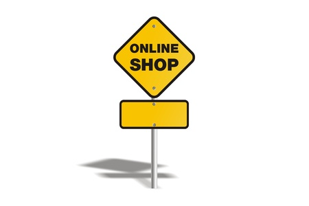online shop yellow sign Stock Photo - 19120338