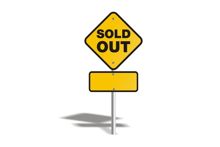 sold out yellow sign Stock Photo - 19120340
