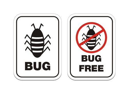 bug and bug free alert signs Vector