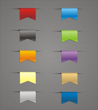 hang tag: set of colorful ribbons Illustration