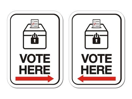 political rally: голосовать здесь подписать со стрелкой Иллюстрация