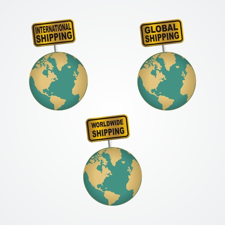 international shipping: worldwide, global, international shipping icons Illustration