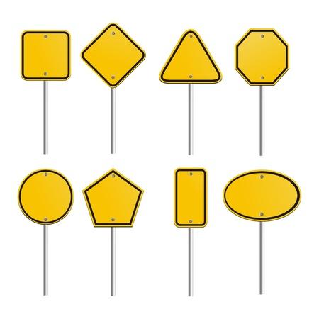 caution sign: segni in bianco giallo Vettoriali