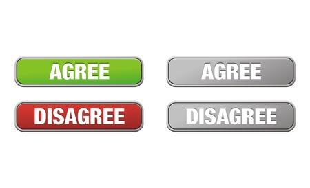 coincidir: acuerdo y desacuerdo botones