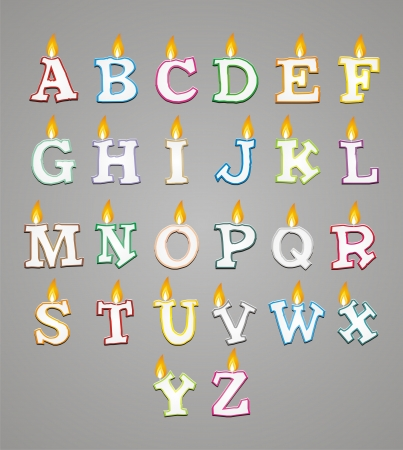 lit candles: alphabet candle with colorful outline