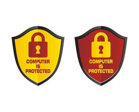 computer is protected - shield signs Vector