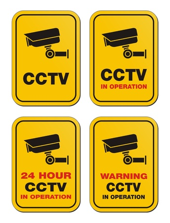caution cctv: 24 hour CCTV in operation - yellow signs