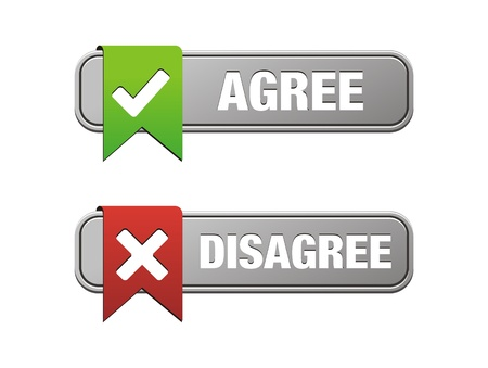pas d accord: d'accord en d�saccord boutons Illustration