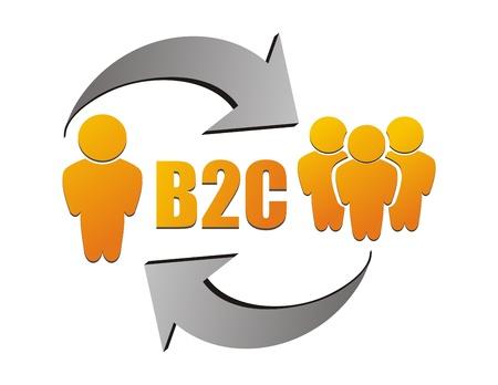 Business to customer , B2C illustration