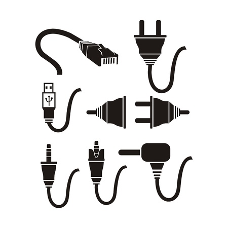 plug cable icons sets Vector