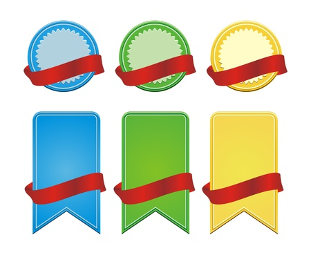 blank badge with ribbon Vector