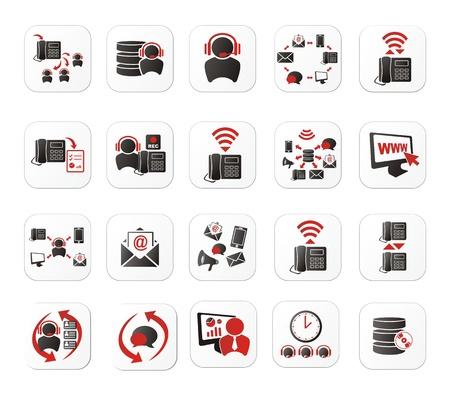 predictive: call center icon set con pulsante bianco