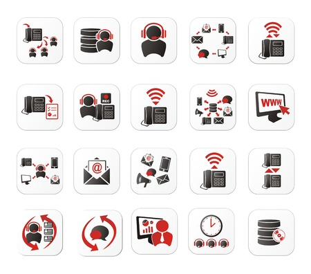 call center office: call center icon sets with white button