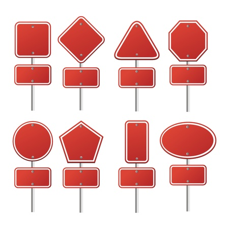 set of red signs Stock Vector - 19761318