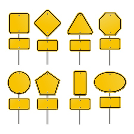 set of yellow signs Stock Vector - 19761322