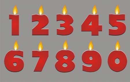 number candles: birthday candle vector